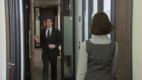 Businesswoman and businessman meeting in corridor Stock Video Footage