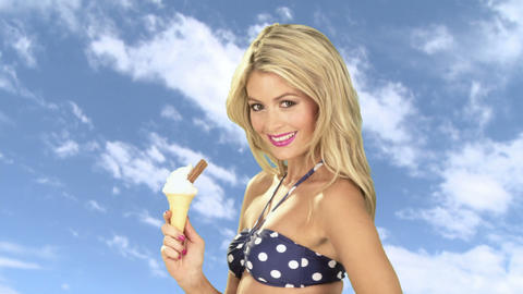 Young woman with ice cream cone Stock Video Footage