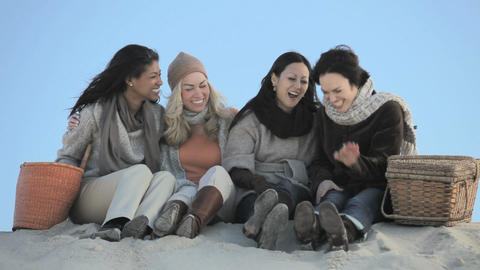 Mature female friends at beach Stock Video Footage