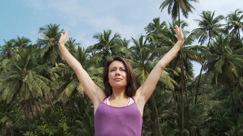 Young woman practicing yoga Stock Video Footage