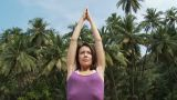 Young Woman Practicing Yoga stock footage