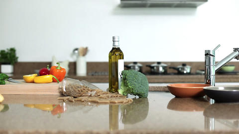 Ingredients on kitchen counter Stock Video Footage
