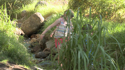 Children walking over rocks in river Stock Video Footage
