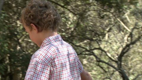 Boy walking along log by river Stock Video Footage