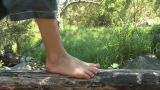 Feet of child walking along log Footage