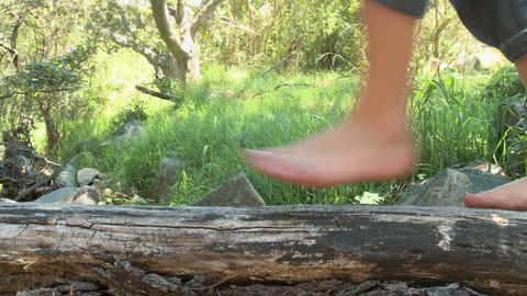 Feet of child walking along log Stock Video Footage