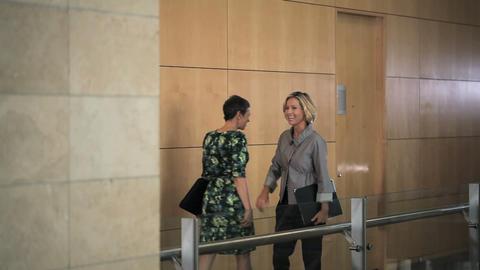 Businesswomen meeting in corridor and embracing Stock Video Footage
