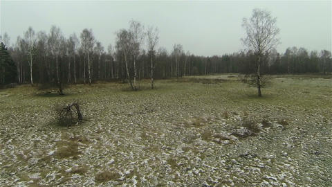 Aerial view of rime on the field, snow in country side middle russian autumn Footage