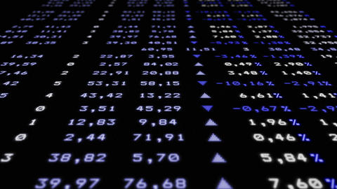Refreshable stock market board, angle view Animation