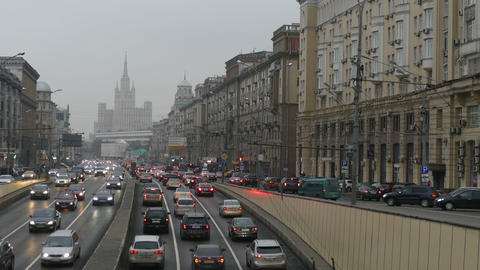 The Flow Of Cars In The City Of Moscow In The Autumn stock footage