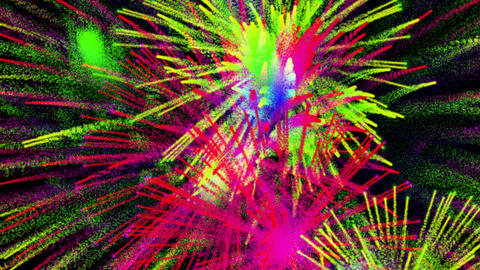 Colorful abstract fireworks on black bg, loop Animation