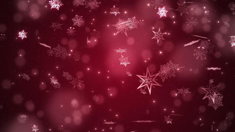 Red beautiful falling snowflakes Stock Video Footage