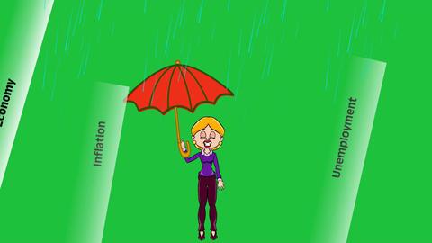 Umbrella In Economic Storm: Looping + Matte stock footage