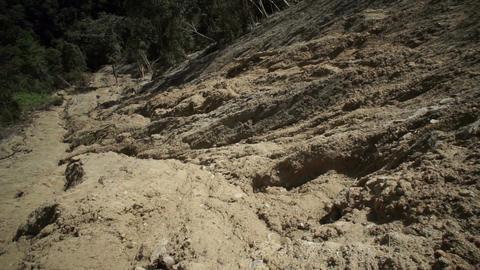 Clay Soil Landslide Tilt Up stock footage