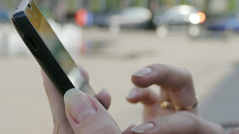 Woman Using Her Mobile Smart Phone Outdoor Footage