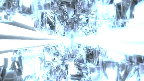 Infinite Tunnel With Glowing White Crystals Loop stock footage