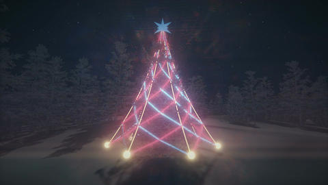 Animated flashlights on a Christmas tree loopable Animation
