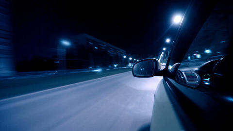 Night City Drive By Car stock footage