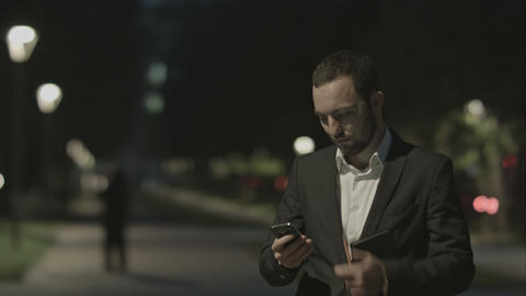 Portrait Of Handsome Adult Business Man Communicate By Phone In Good Mood, While stock footage
