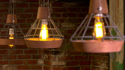 Soft Panorama Chandeliers In The Restaurant stock footage