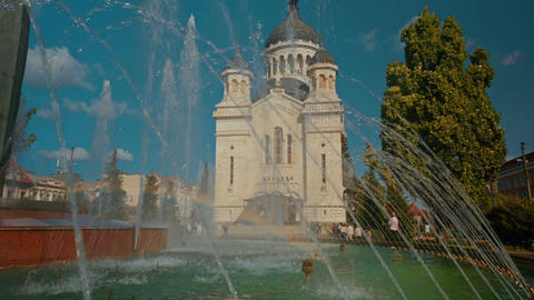 Close-up Shot The Dormition Of The Theotokos Cathedral In Cluj Napoca, Romania stock footage