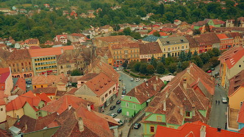 Close-up, Panoramic View of Sighisoara City in Transylvania, Romania Footage