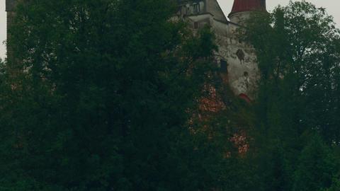 Close-up Shot Of The Original Dracula Castle In Bran, Transylvania, Romania stock footage