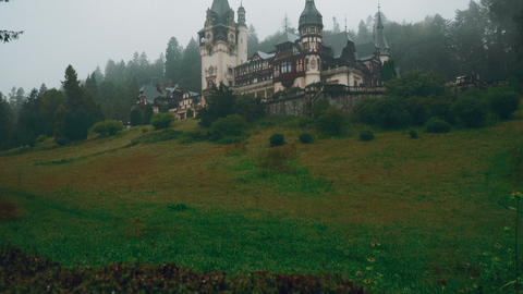 Peles Castle And A Misty Pine Tree Forest In Sinaia, Transylvania, Romania - Ult stock footage