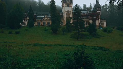 Peles Castle And A Misty Pine Tree Forest In Sinaia, Transylvania, Romania - Fro stock footage