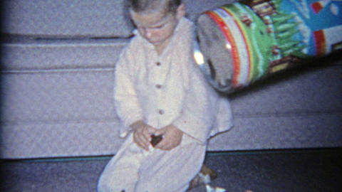 1963: American plastic building lincoln logs canister dumped over for constructi Footage