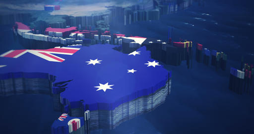 4K Australia up to Asia and India with Country Flags Stock Video Footage