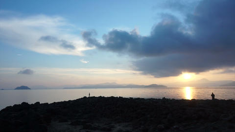 Video of golden sunrise above the Andaman ocean sea with island and seascape Footage