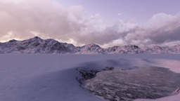 Mountain winter lake sunset Animation