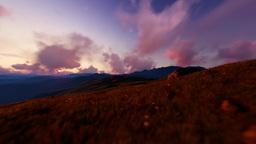 Mountain Sunrise, Flying over Grass Animation