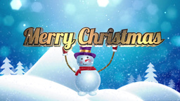 "Snowman brings ""Merry Christmas"" words Animation"