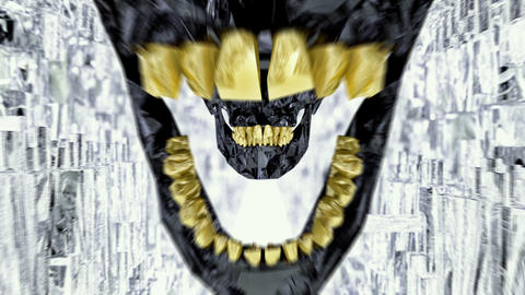 Black Skull With Gold Teeth Seamless Loop Tunnel Live Action
