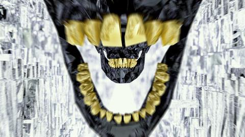Black Skull With Gold Teeth Seamless Loop Tunnel stock footage