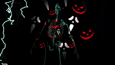 skeleton horror Halloween pumpkin Animation