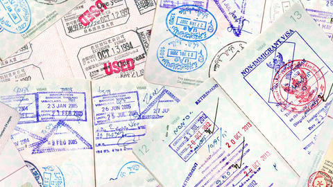 International Travel Passport Stamps stock footage