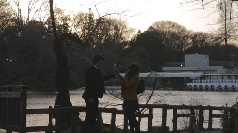 Young couple at the park Footage