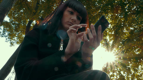 Elegant Beautiful Woman Texting On Smartphone Outdoor Footage