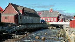 Greenland small town Qaqortoq 090 the small local church with a white bridge and Footage