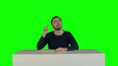 Students with book listening during a lecture on a Green Screen Footage