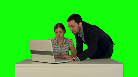 Business people Having Meeting Around Table with laptop on a Green Screen Footage