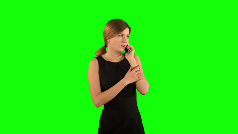 Portrait of smiling business woman phone talking on a Green Screen Footage