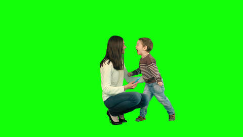 Mother And Son Posing For Selfie on a Green Screen Footage