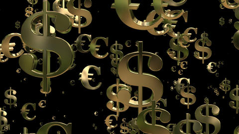 Flying USA dollar signs and euro sings Animation