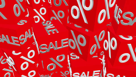 Cubes with sale and percents message in red Animation