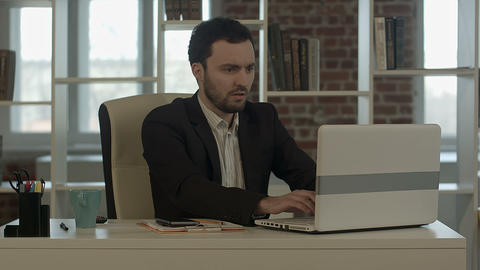 Businessman With Laptop In Crisis stock footage