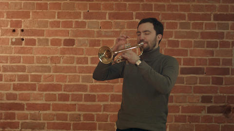 Musician playing the trumpet Footage